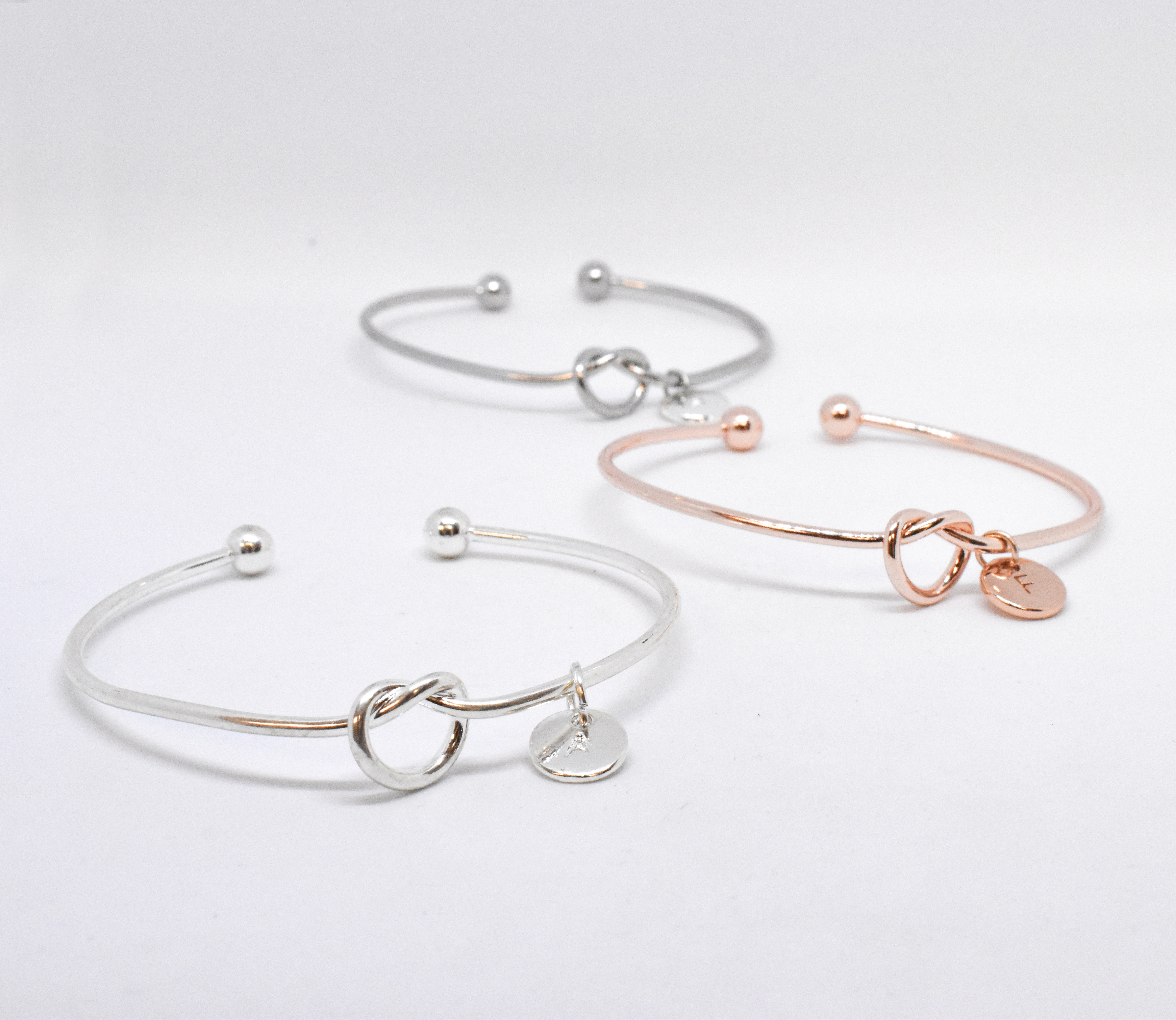 LOVE KNOT INITIAL BANGLES