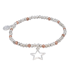 STAR CHARM SILVER AND ROSE GOLD PLATED BRACELET