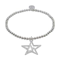 DOUBLE STAR SILVER PLATED BRACELET